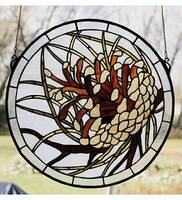 Meyda Tiffany Round Pinecone Window