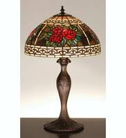 Meyda Tiffany Roses & Scroll Table Lamp