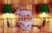 Meyda Tiffany Moose And Rawhide Shade Wall Sconce - Forest Green