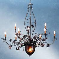 Meyda Tiffany Chandelier with Acorn Pendant